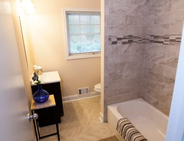 Bathtub and stand in Atlanta bathroom remodel