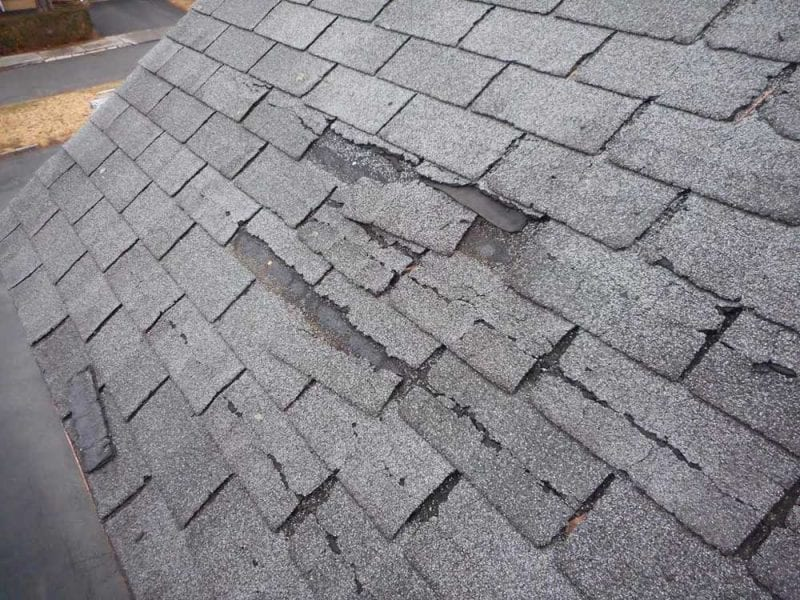 Asphalt shingles on roof missing or damaged and in need of repair
