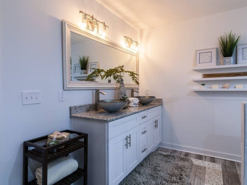 Master bathroom cabinets remodel into European style Shaker cabinets