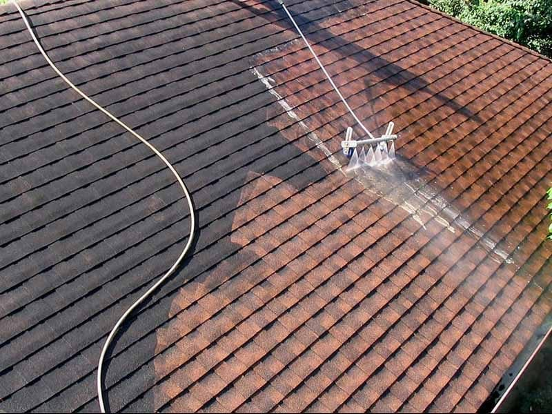 Water running down a roof