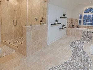 Bathroom flooring idea for master bathrooms and large bathrooms