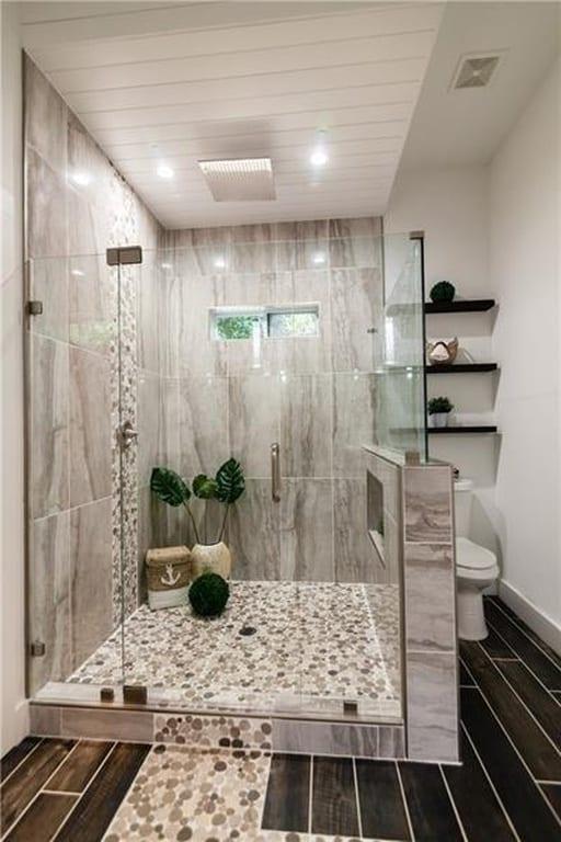 Master bathroom shower after a full home remodeling